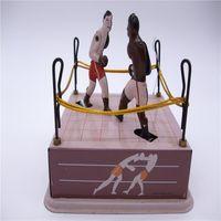 metall-boxer großhandel-[TOP] Adult Collection Retro Aufziehspielzeug Metal Tin Arena Champions Boxer Boxring Spiel Mechanisches Spielzeug Clockwork Spielzeugfiguren
