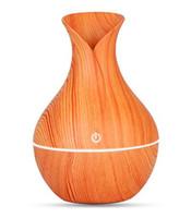 difusor mini aroma venda por atacado-Umidificador essencial óleo difusor de aroma de madeira Grain ultra-sônico umidificador de ar de madeira USB legal mini fabricante de névoa luzes LED para home office