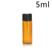 rolha de garrafa de óleo essencial venda por atacado-Amber Glass Óleo Essencial e Garrafas Líquidas 1 2 3 5 ml Frasco de vidro para tubos de ensaio com rolha de plástico tampa preta