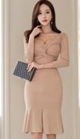 ingrosso vestito sexy dalla moda coreana-2019 versione coreana della primavera moda scollo a V vita che dimagrisce abito hip fishtail pacchetto