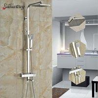 grifo de ducha cuadrado termostático al por mayor-Saeuwtowy termostática del cromo grifo de la ducha 8 '' ABS plaza pared ducha montado en la cabeza de ducha de baño Sistema de mezclador