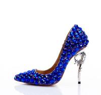 talons à lanières bleus achat en gros de-Chaude Élégant Royal Bleu Chaussures De Mariage De Mariée À La Cheville Bretelles En Cristal Chaussures À Talons Hauts Strass Mousseux Boîte De Mariage De Princesse