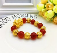Wholesale china stone bracelets for sale - Group buy China Traditional Mascot Gold Plated Pixiu Bracelet Natural Stone Beaded Wealth Symble Bracelet For Men and Women