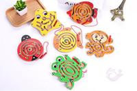 ingrosso giocattoli del labirinto del branello-Puzzle di giocattoli per bambini magnetica a piedi a piedi labirinto labirinto di animali pista di legno precoce educazione genitore-bambino gioco di intelligenza