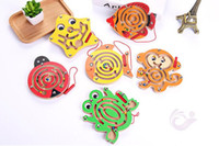 jouets de labyrinthe de perles achat en gros de-Puzzle enfants jouets stylo magnétique marche perle labyrinthe piste des animaux en bois éducation précoce jeu d'intelligence parent-enfant
