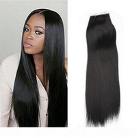 Wholesale multi color hair extension resale online - Big Seal remy human hair extensions PU skin weft Silky Straight tape in Indian Remy hair extensions multi color