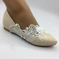 плоские шампанские сандалии оптовых-Новые кружева шампанского цветы Плоские туфли на каблуках ручной работы женские туфли свадебные сандалии свадебные туфли EU35-41