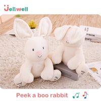 muñecas que hablan al por mayor-Jeriwell Peek a boo Rabbit Electric Peluche Juguete Animales Conejito Muñeca Jugar a las escondidas Hablar y cantar Música Regalo para bebés Niños
