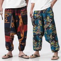 pantalones anchos al por mayor-Hombres de la vendimia de algodón de lino pantalones Harem Hip Hop impreso holgados pantalones anchos de la pierna más el tamaño masculino Boho verano pantalones largos pantalones cruzados Y190509