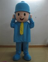 Wholesale movie quality costumes sale online - 2019 Discount factory sale Good quality a thin little boy mascot costume with blue shirt for adult to wear