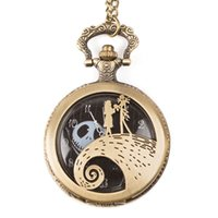 Wholesale big watch necklace for sale - Group buy Big Retro Nightmare ghost Before Christmas pocket Necklace Pocket Watch Bronze Pocket Watch Men Women gift chain Watches