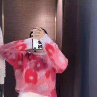 sueter mohair rosa al por mayor-Suéter de las mujeres 2019 nuevo y fresco dulce rosado de las flores suéter de mohair