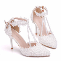 Wholesale white girl shoes pearls for sale - Group buy 2019 New Style Pearl White Lace Wedding Shoes With Tapered Sandals Trade High Heels Side Empty Party Prom Bridal Girl Shoes
