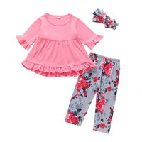Wholesale baby half pant girl resale online - Baby Floral Printed Outfits Girls Ruffle Solid Tops Kids Baby Clothes Girls Elastic Flower Pumpkin Pants Toddler Girls Trousers