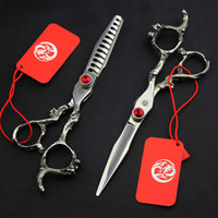 6inch Japan 440C Dragon Handle Straight Cutting Thinning Scissor Hairdressing Style Shear Clipper Barber Shop Tool