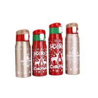 Wholesale best steel water bottles resale online - Best Selling Stainless Steel Thermos Merry Christmas Printed Water Bottle Child Drink Cups Big Capacity txa E1