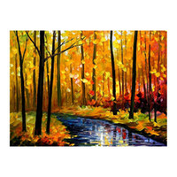 Wholesale oil landscapes painting knives online - 72 quot x48 quot Pallet knife Canvas oil painting hand painted forest path living room sofa background wall decoration painting European painting
