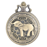 Wholesale bronze elephant necklace resale online - 3D Cute Long Nose Elephant Figure Retro Bronze Hollow Necklace Quartz Pocket Watch Fashion Pendant Watches for Men Women Kids