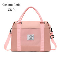 Wholesale korean luggage bags resale online - korean swim sports Nylon weekend Travel bags Solid Color carry on luggage dry wet separation yoga fitness Tote bag for girls