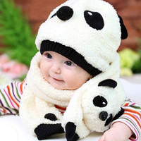 Wholesale boys panda hat resale online - Toddler Girls Boys Winter Hat Cute Panda Baby Hat Scarf Set Fleece Beanie Warm Cap Unisex Kawaii Warm Cartoon Gorros Set