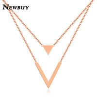links de triângulo da cadeia de ouro venda por atacado-NEWBUY Moda Rosa de Ouro Cor de Aço Inoxidável Dupla Camada Gargantilha Colar Para As Mulheres Triângulo V Forma Colar de Corrente de Ligação