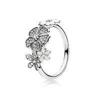 ramo de regalos al por mayor-Moda lindo blanco flor de esmalte anillo original caja de regalo para Pandora 925 plata esterlina CZ Diamond intermitente anillo ramo para las mujeres