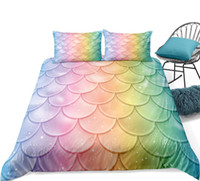 Wholesale mermaid bedding set for sale - Group buy Mermaid Duvet Cover Set Twin Girl Shell Bedding Set Colorful Fish scale Quilt Cover Princess Kid Teen Boy Bed Line Microfiber