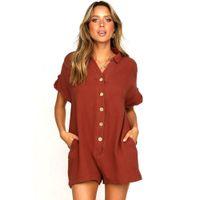 mode-frauen overall großhandel-Womens New Fashion Pure Farbe Shorts Overalls Lose Sexy Knopf Einteilige Hose Mode Lässig Bekleidung