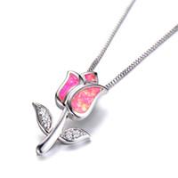 ingrosso bellissimi ciondoli eleganti-Collane con ciondolo opale di fuoco rosa fiore di rosa molto belle per donne eleganti Regali di San Valentino personalizzati con gioielli in argento placcato argento 925