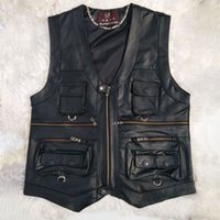 gilet noir multi-poches achat en gros de-Multi Pocket Vest Hommes Noir Photographie Gilets En Cuir Véritable Moto Biker Gilet Homme Automne Hiver Veste Sans Manches