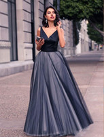 Wholesale full length occasion dresses online - 2019 NEW Simple Cheap Black Gray Evening Dress Long Tulle Skirt Full Length Women Prom Formal Party Gown Occasion Robe De Siree Custom