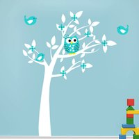 Wholesale new wallpaper tree resale online - Owl Vinyl Tree Wall Sticker Decals Mural Wallpaper Children Kids Baby Room Nursery Bedroom Stickers New Year Tree Home Decoration