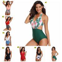 Wholesale womens swimwear for sale - Womens Sexy One piece Bikinis flower Swimwear Tummy Control One Piece Swimsuit Front Cross Colorblock Bathing Suit MMA1874