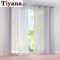 cortinas transparentes ojales al por mayor-1 PC SOLA VOILE SHEER SHEER WINDOW DRESSING CURTAIN GROMMET PANEL TRATAMIENTO DRENAJE 184D3