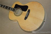 Wholesale hollow body acoustic for sale - Factory Custom natural wood color G inch acoustic guitar with tuners black pickguard can be customize