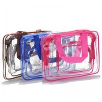 Wholesale makeup cases online - Girls Clear Cosmetic Bags Portable Makeup Bag Toiletry Travel Wash Storage Pouch Transparent Waterproof PVC Bag Organizer Cases WWA21