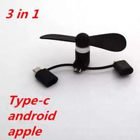 usb viento al por mayor-Ventilador de enfriamiento 3 en 1 portátil grande Wind Mute Mini USB Type-C android y iphone para 6s plus 7 8 X para teléfono Samsung