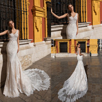 Wholesale color outdoor wedding dress for sale - Group buy V Neck Satin Mermaid Bohemia Wedding Dresses Tulle Lace Applique Sweep Train Outdoor Wedding Bridal Gowns robes de mariée With Buttons