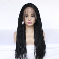 Wholesale high quality long black wig resale online - High quality Long box Braid Wig Braiding synthetic lace front wig black cornrow braids lace wigs For Black Women