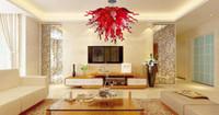 luminárias de cristal vermelho venda por atacado-Teto moderno LED Red Light Crystal Chandelier Iluminação Murnao vidro luminária para sala de jantar Quarto Sala aparelho de iluminação