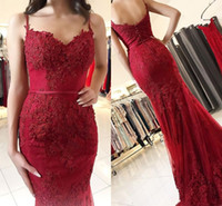 Wholesale beautiful prom dresses pictures resale online - Dark Red Mermaid Prom Dresses With Beaded Appliques Beautiful Tulle Spaghetti Straps Neckline Sweep Train Evening Gown Abito