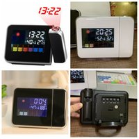 Wholesale screen color squares resale online - Time Watch Projector Multi Function Digital Alarm Clocks Color Screen Desktop Clock Display Weather Calendar Time home decor FFA3287