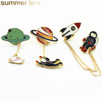 Wholesale wholes clothing for girls for sale - Group buy Fashion New Design Planet Brooches Three Style Earth Astronauts Rabbit Girl Enamel Animal Brooch Pins For Kids Women Badges Clothes Whole