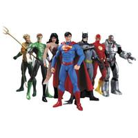 figura de batman brinquedos venda por atacado-DC Superman Batman Collectibles Toy Liga de Justiça Figura de Ação Superman Coleção Modelo de Brinquedo de Presente 7 Pçs / set