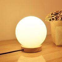 runde lichtkugel großhandel-Neue Moderne Globe Ball Runde Glas LED Boden Tisch Schreibtisch Beleuchtung Licht Lampe Weiß Für Schlafzimmer Bar Wohnzimmer Beleuchtung