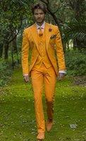 ingrosso cravatta gialla in tuxedo grigio-Moda giallo grigio smoking da sposo notch bavero sposi mens abito da sposa uomo bello giacca blazer 3 pezzi vestito (giacca + pantaloni + vest + cravatta) 927