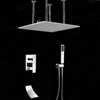Wholesale large waterfall shower heads resale online - And Retail Large cm Square Rain Shower Head Faucet Ceiling Mounted Shower Faucet Waterfall Tub Shower Hand Sprayer