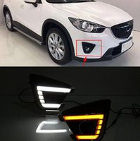 Wholesale mazda cx led lights resale online - For Mazda cx cx5 Flowing Turn Yellow Signal Function Waterproof Car DRL V LED Daytime Running Light Daylight