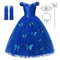 vestido de fiesta de halloween disfraz al por mayor-Princesa Cenicienta azul vestido de la ropa de la muchacha del hombro vestido de bola del desfile de traje de los niños mullido fiesta de Halloween de bolas Deluxe de envío