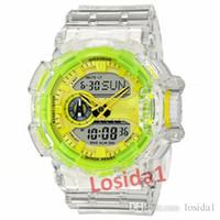 yeni stil erkek saatleri toptan satış-Yeni Moda Erkek Spor Saatler G Stil Popüler Şeffaf Kayış Şok Bilezik Saatler Adam Erkek LED Askeri Çalar Saat İzle Hediye saat